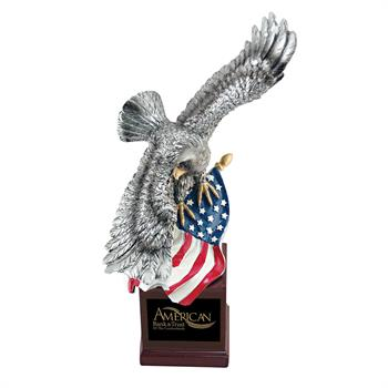 EGL75 - Soaring Eagle with US Flag on Resin Base