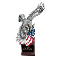 Soaring-Eagle-with-US-Flag-on-Resin-Base